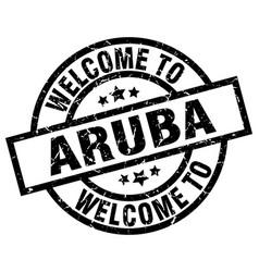 welcome to aruba black stamp vector image vector image