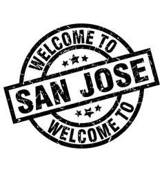 Welcome to san jose black stamp vector