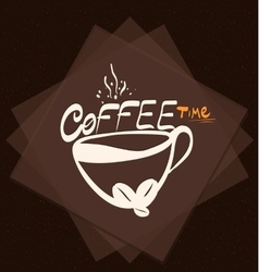 Morning cup of coffee on color background vintage vector