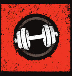 Grunge dumbbell icon on rough distressed vector
