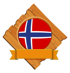 Norway flag on wooden board vector