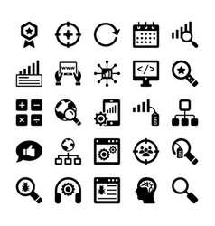 Seo and digital marketing glyph icons 10 vector