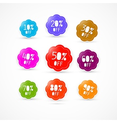 Colorful discount labels set vector