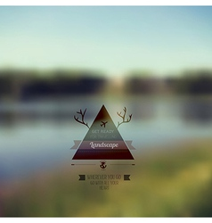 Forest landscape with triangle badge outdoor vector