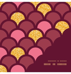 Gold glitter fish scale frame corner pattern vector