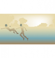 Swimming couple vector