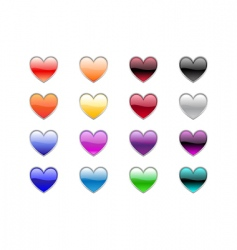 Heart shape buttons vector