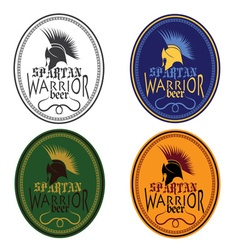 Old vintage antiques spartan warrior beer bottle vector