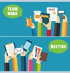 Banner teamwork and meeting concept flat design vector