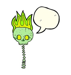 Cartoon spooky skull and spine with speech bubble vector