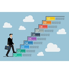 Businessman stepping up a staircase infographic vector