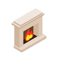 Burning fireplace icon isometric 3d style vector