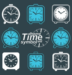 Set of simple elegant inverse table clocks eps 8 vector