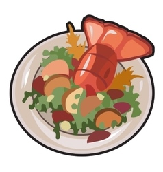 Boiled lobster with garnish isolated vector