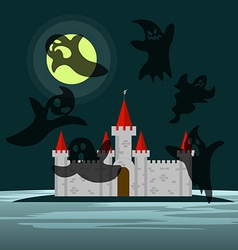 Old castle in the night and six ghosts around him vector
