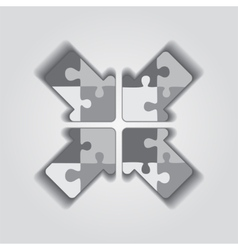 Arrow puzzle concept on gray background vector image vector image