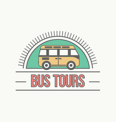 Bus trip and trvel tour badge logo vector