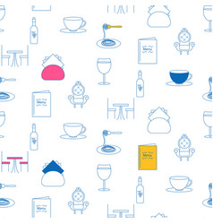 Cafe service line icon seamless pattern vector