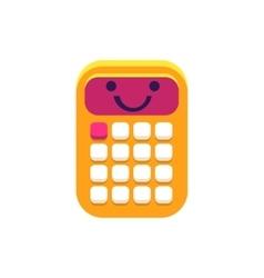 Calculator primitive icon with smiley face vector