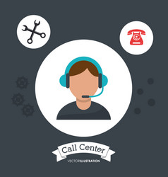 Call center man operator support helpline gears vector