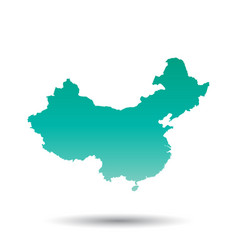 China map flat on white background vector