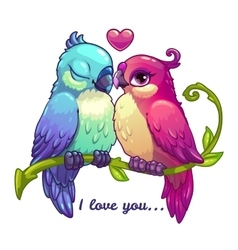 Cute birds couple in love vector