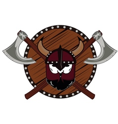 Emblem viking warrior skull logo vector