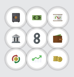 flat exchequer set of growth cash strongbox and vector image vector image