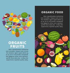 fresh organic fruits berries healthy natural fresh vector image vector image