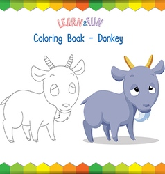 Goat coloring book educational game vector image