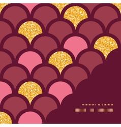 Gold glitter fish scale frame corner pattern vector image
