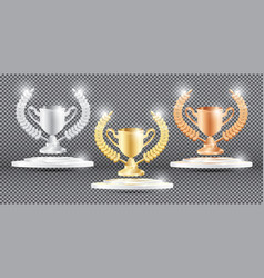Gold silver and bronze trophy with laurel wreath vector