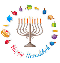 happy hanukkah card template with lights and vector image vector image