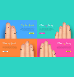I love my family and friend card set vector