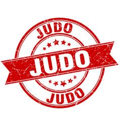 Judo round grunge ribbon stamp vector