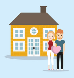 Lovely couple with home house vector