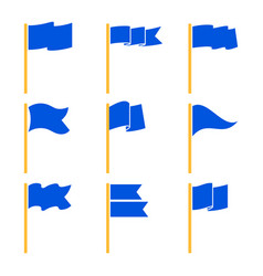 Markers or pointer blue flags set vector
