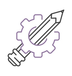 Pen icon drawing gear vector image vector image