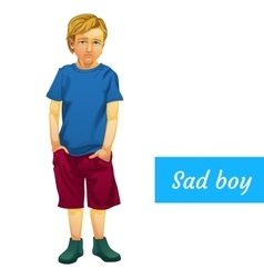 Sad boy in summer clothes isolated character vector