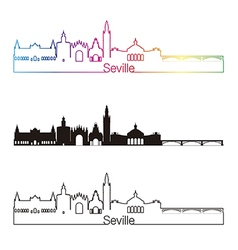 Seville V2 skyline linear style with rainbow vector image vector image