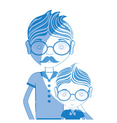 Silhouette father with his son using glasses vector