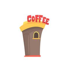 street coffee shop takeaway kiosk cartoon vector image