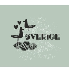 Swedish sign with sea birds vector