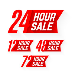 12 24 48 and 72 hour sale labels vector image vector image