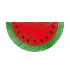 Watermelon fresh fruit drawing icon vector