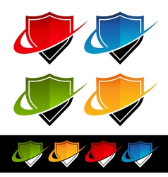 Swoosh shield logo icons vector