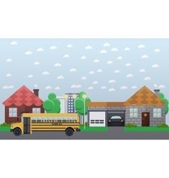 School bus going in the vector