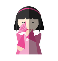 Japanese girl performing fan and diadem shadow vector
