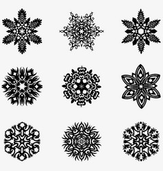 Set of winter snowflakes for christmas black vector
