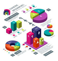 isometric 3d business infographic with vector image